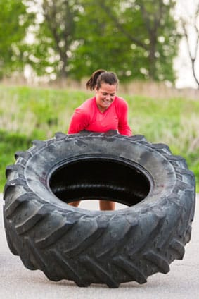 CrossFit workouts with tire