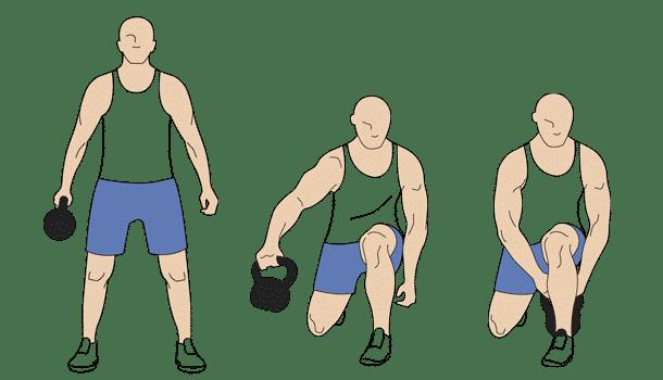 Kettlebell lunge pass-through exercise