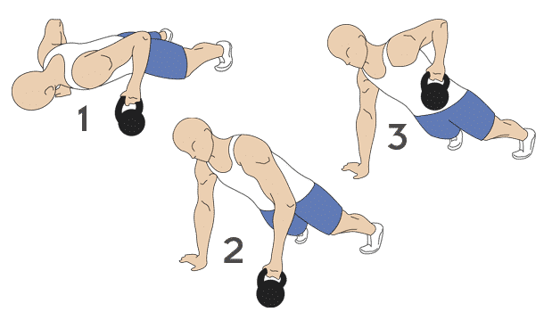 Kettlebell push-up with row exercises