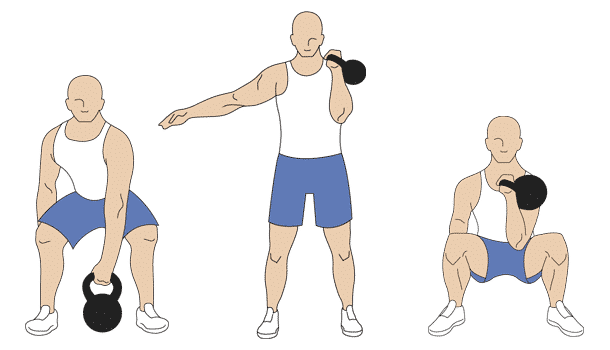 Kettlebell single arm front squat exercises