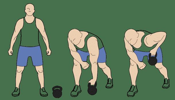 Kettlebell one-arm row exercises