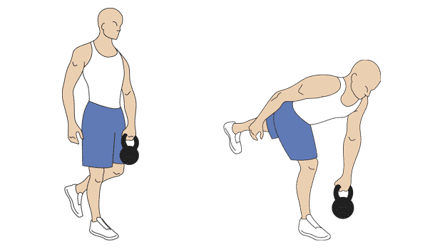 Step by step instructions for the kettlebell one-leg deadlift exercise