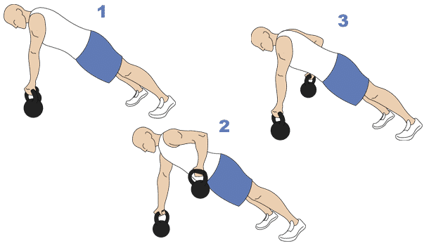 steps for kettlebell power plank with row