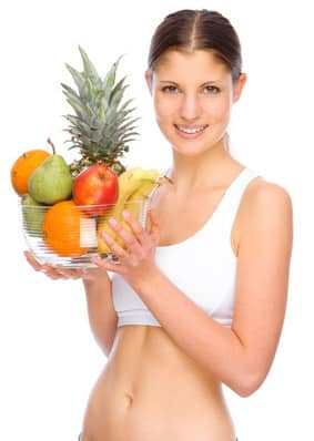 Woman with healthy snacks