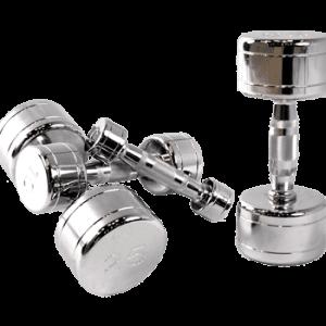 Chromed Solid Dumbbells W/ Contoured Handles