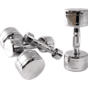 Chromed Solid Dumbbells W/ Contoured Handles