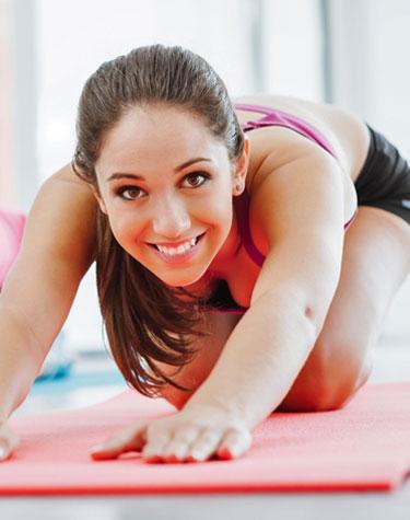 enjoy exercise woman stretching