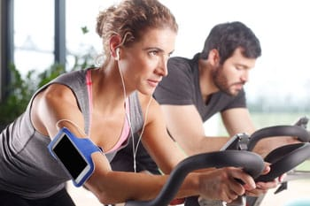 exercise bike woman and man