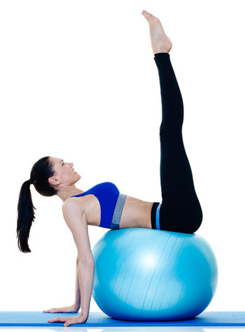 exercise habit woman with ball