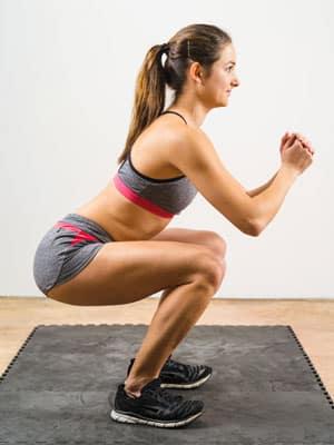 Isometric exercise woman