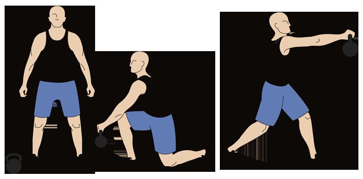 kettlebell woodman's chop exercise steps