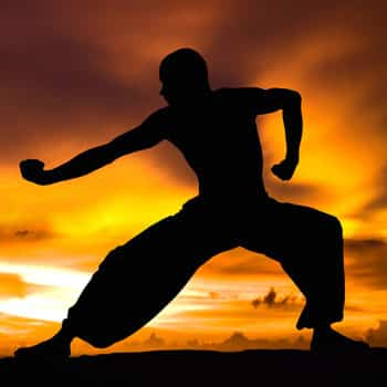 martial arts benefits man working out at sunset