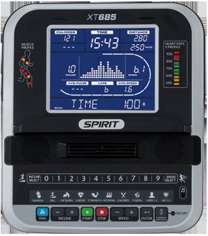 Spirit Fitness XT685 Treadmill console