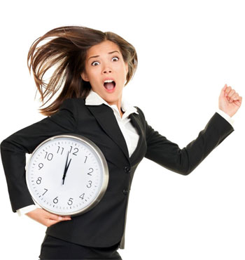 too busy to work out woman with clock