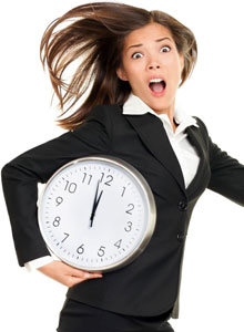 too busy to workout woman with clock